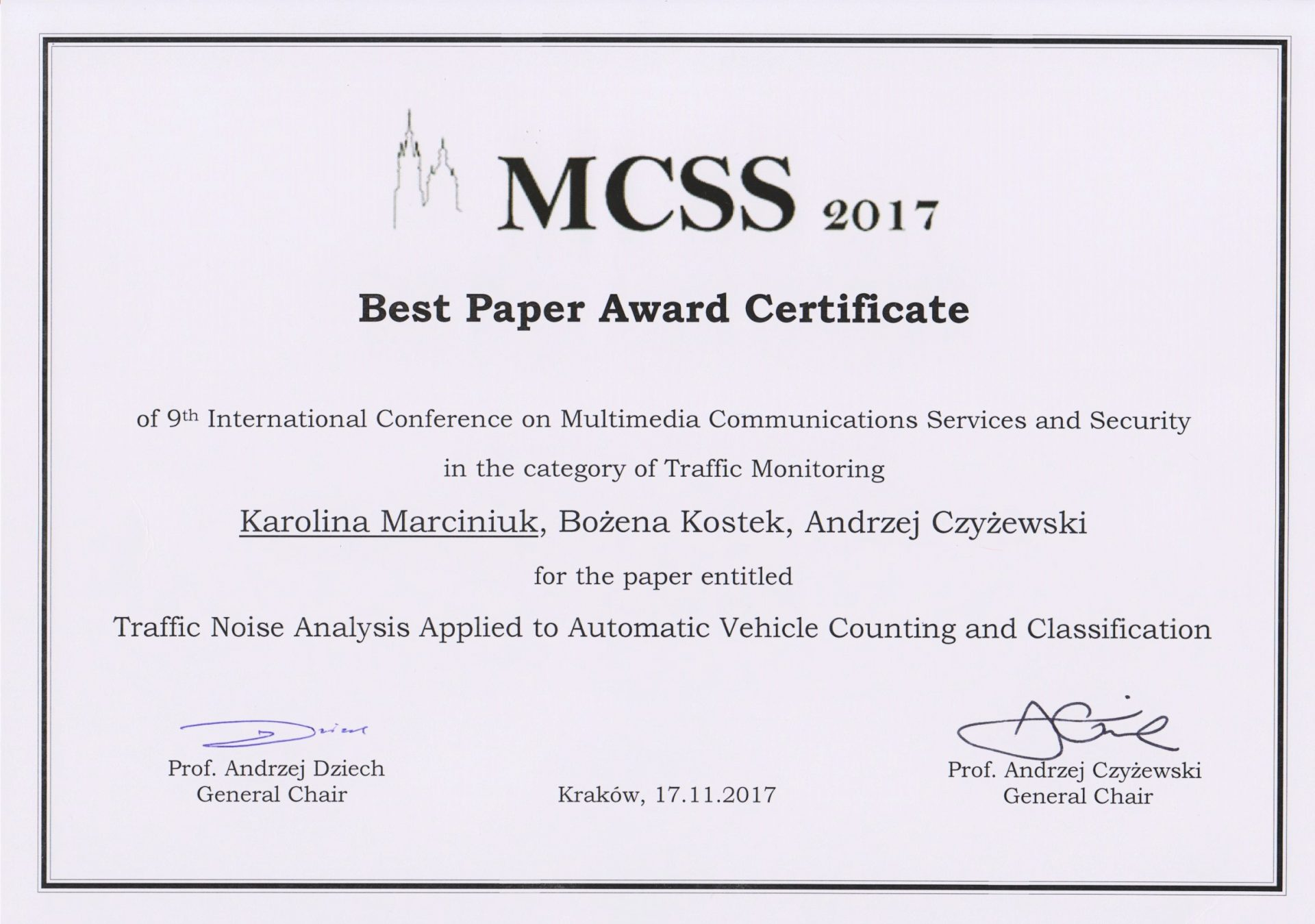 best paper award at the 9th international conference on ieee